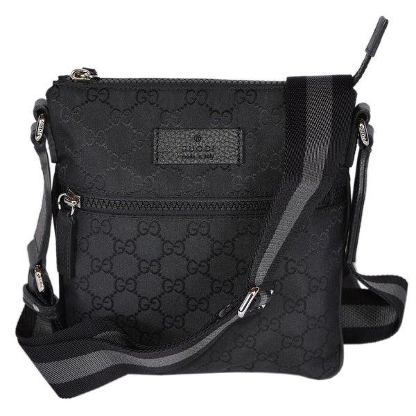 7140b326ca91 Gucci 449183 Black Nylon MINI GG Guccissima Web Trim Crossbody Messenger Bag  - 8