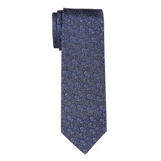 Yves Saint Laurent Silk Paisley Tie Blue & Silver Necktie Made In Italy