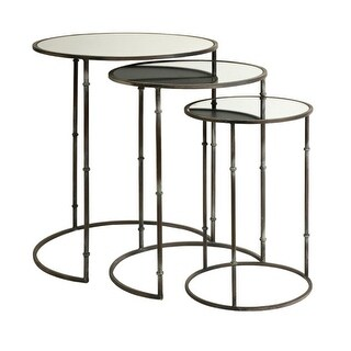 Set of 3 Decorative Circular Mirror Top Nesting Tables 24""