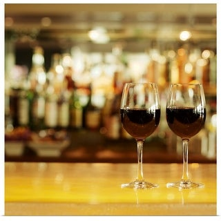 """""""Close-up of two glasses of red wine on bar counter"""" Poster Print"""