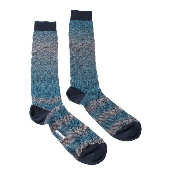 Missoni GM00WMU5248 0005 Turquoise/Gray Knee Length Socks - M