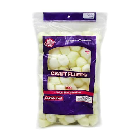 Creativity street craft fluffs yellow 100 count 6403