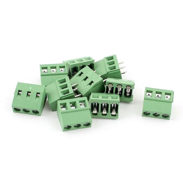 10 Pcs AC 300V 10A 3 Pins PCB Terminal Block Connector 5.0mm Pitch Green