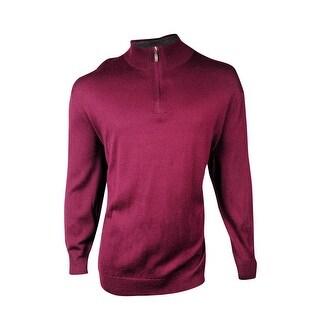 Club Room Men's Big & Tall Mock Quarter-Zip Merino Sweater - Red Plum - 2xb