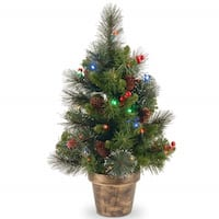 "2' x 14"" Pre-Lit Crestwood Spruce Artificial Christmas Tree – Multi-Color LED Lights - green"