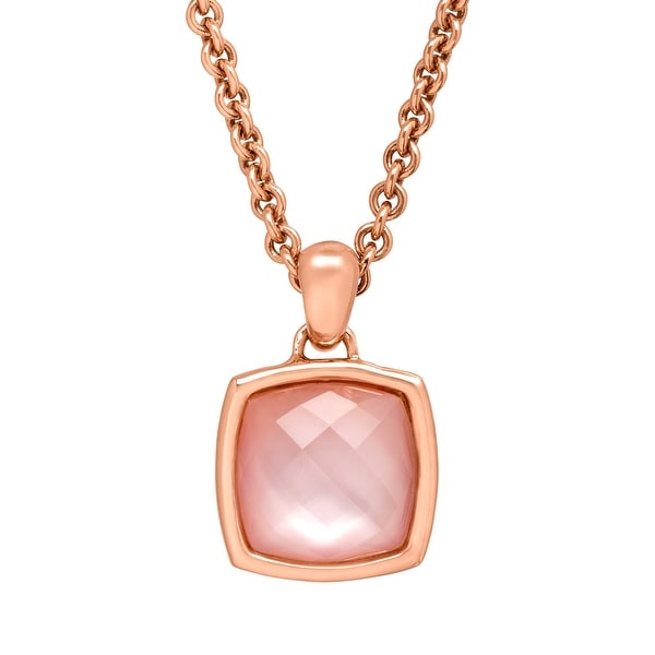 8 3/8 ct Rose Quartz Cushion Pendant in 18K Rose Gold-Plated Bronze
