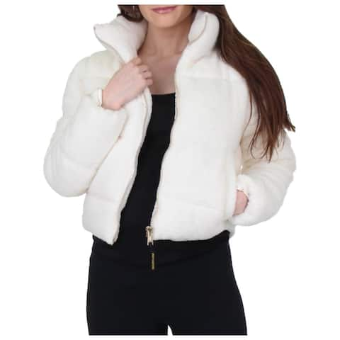 Juicy Couture Black Label Womens Puffer Coat Sherpa Cropped