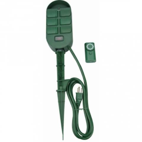 Woods 59785 Power Stake with Timer & Remote Control, 6-Outlet