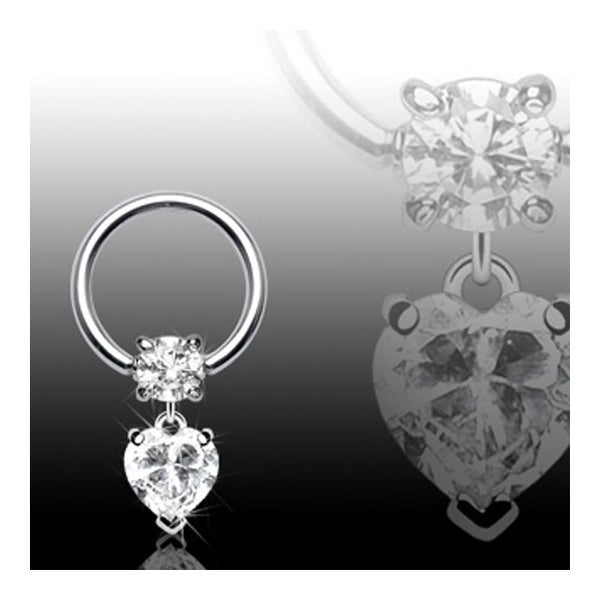 "Surgical Steel Gemmed Captive Bead Ring with Clear Gem Heart Dangle - 16GA 3/8"" Long (Sold Ind.)"