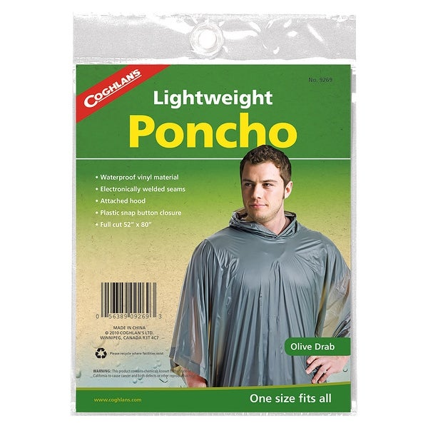 Coghlan's Medium-Weight Reusable Waterproof Vinyl Hooded Poncho - Olive Drab