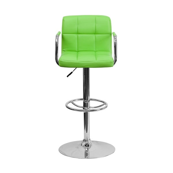Offex Contemporary Green Quilted Vinyl Adjustable Height Bar Stool With Arms And Chrome Base