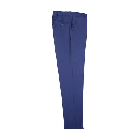 New Blue Slim Fit Dress Pants Pure Wool by Tiglio Luxe