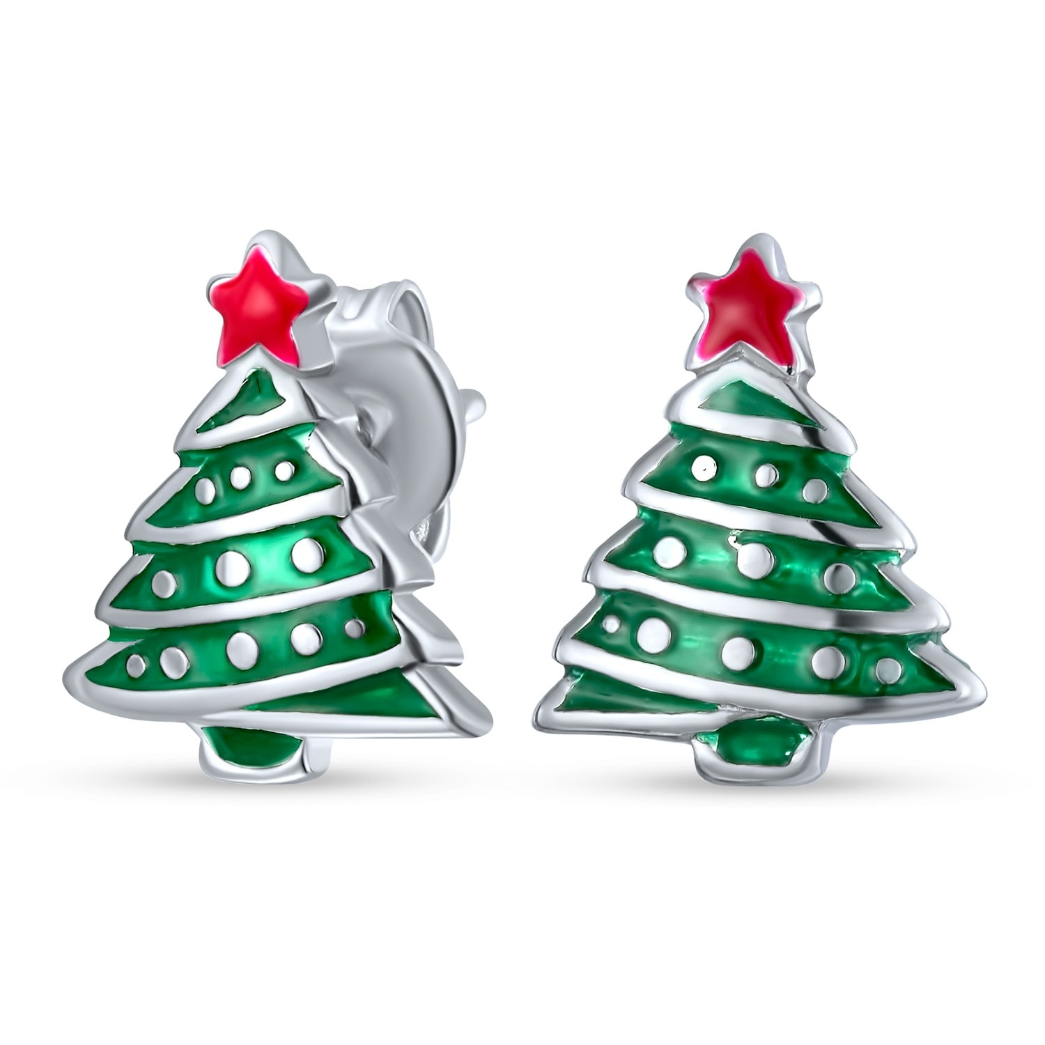 Winter Red Green Christmas Tree Stud Earrings 925 Sterling Silver Overstock 18012240