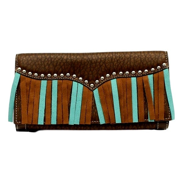 "Blazin Roxx Western Wallet Womens Jolie Clutch Fringe Brown - 7 1/2"" x 4"""