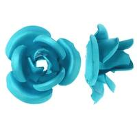 Metal Embellishments, Rose Flower Beads 12mm, 20 Pieces, Matte Aqua