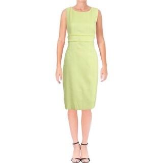 Kasper Womens Petites Wear to Work Dress Fringed Trim Textured