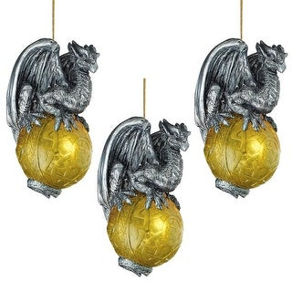 Design Toscano Protector of the Gothic Portal Celtic Dragon 2010 Holiday Ornament: Set of Three