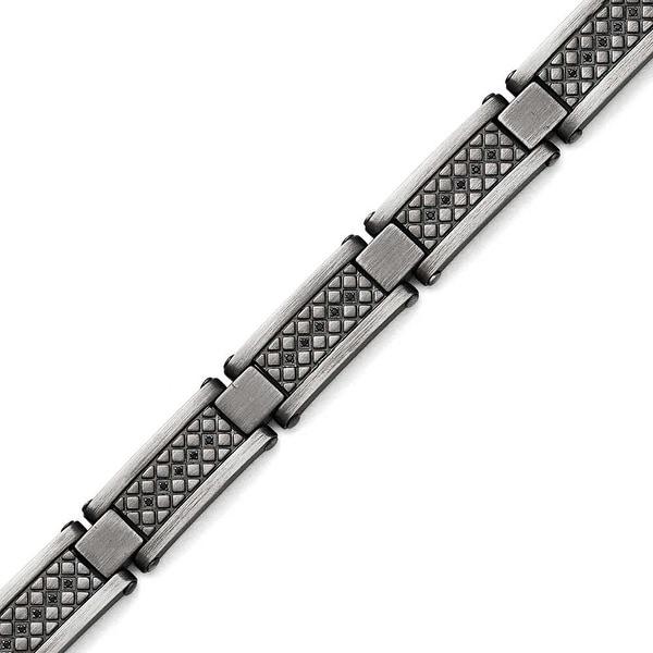 Chisel Stainless Steel Matte/Antiqued 1/10ct.tw Black Diamond Bracelet