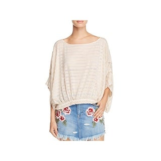 Free People Womens Azelea Pullover Top Crochet 3/4 Sleeves