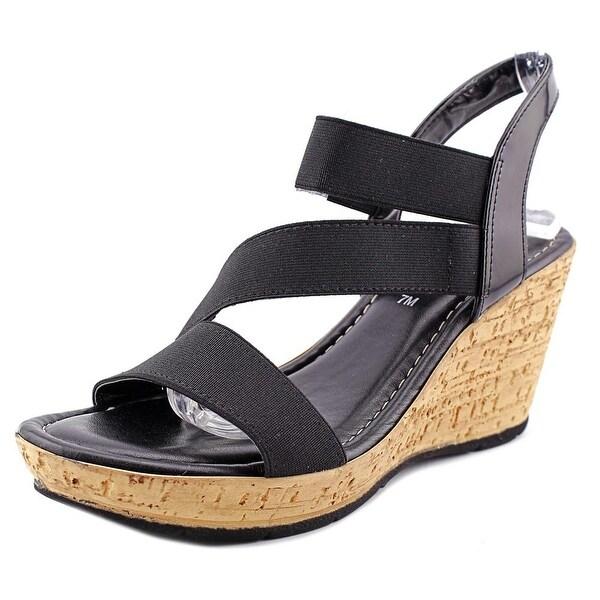 Easy Street Piceno Women W Open Toe Synthetic Black Wedge Sandal