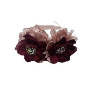 Girls Burgundy Blush Pink Two Carnations Headband Fancy Diadem - One Size
