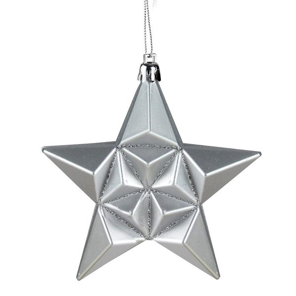 "12ct Silver Splendor Shatterproof Star Christmas Ornaments 5"""