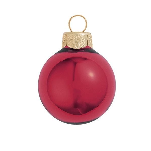 "12ct Shiny Burgundy Red Glass Ball Christmas Ornaments 2.75"" (70mm)"