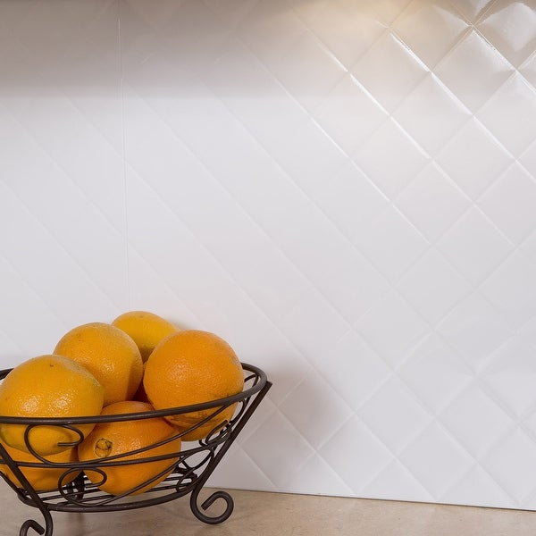 Fasade Quilted Gloss White 15-square Foot Backsplash Kit. Opens flyout.