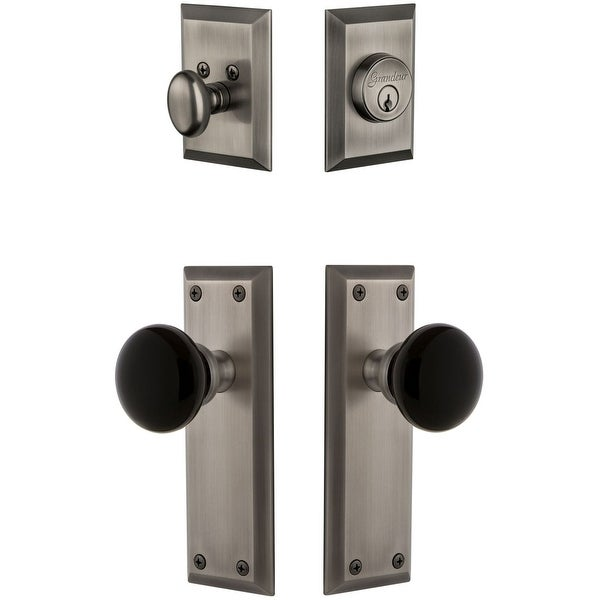 Grandeur FAVCOV_SP_ESET_234 Fifth Avenue Solid Brass Rose Single Cylinder Keyed Entry Deadbolt and Knobset Combo Pack with