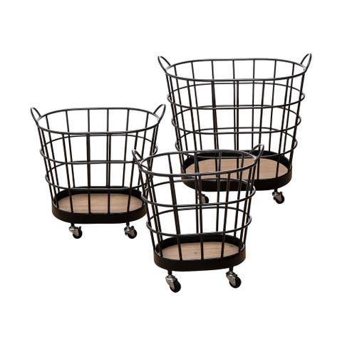 Carbon Loft Heathcote Rolling Wire Baskets (Set of 3) - 15.75x25.75x22.5