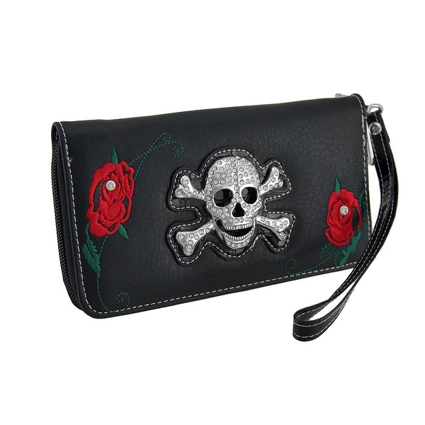 Rhinestone Skull and Red Roses Black Zippered Wristlet Wallet
