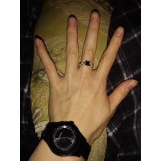 Noori 14k White Gold 1 1/3ct TDW Black Princess Cut Diamond Engagement Ring