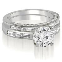 2.13 cttw. 14K White Gold Round And Baguette Cut Diamond Bridal Set