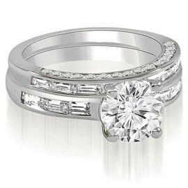 2.38 cttw. 14K White Gold Round And Baguette Cut Diamond Bridal Set