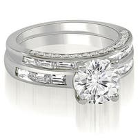 2.38 cttw. 14K White Gold Round And Baguette Cut Diamond Bridal Set