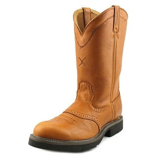Twisted X Cowboy Work Pull On 12'' Men B Round Toe Leather Tan Work Boot