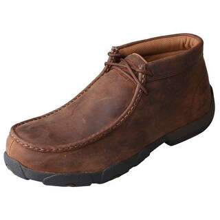 Twisted X Work Shoes Mens Driving Mocs Steel Toe Brown