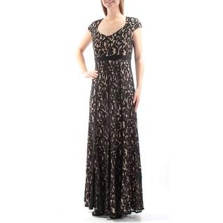 Womens Black Cap Sleeve Maxi Empire Waist Formal Dress Size: 8