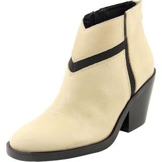 Naya Atom Women Round Toe Leather Ivory Ankle Boot
