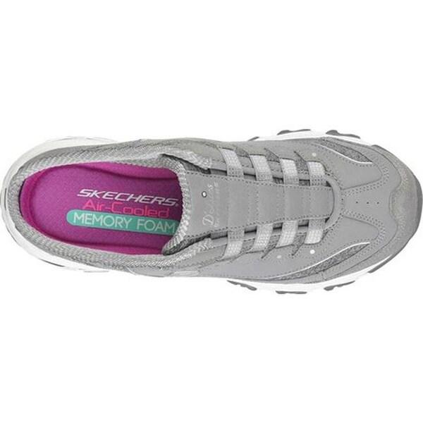 Details about Skechers Sport Women's D'Lites Slip On Mule Sneaker,Memory Foam,8 B(M)GrayWhite