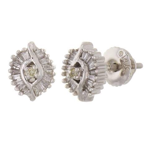 14k White Gold 0.50ctw Diamond Shimmer Cluster Stud Earrings