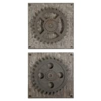 Set of 2 Industrial Rust Brown Mechanical Gear Distressed Wall Decorations 17""