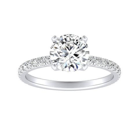 Auriya 14k Gold 1 1/2ct Moissanite and Diamond Engagement Ring 1/3ctw