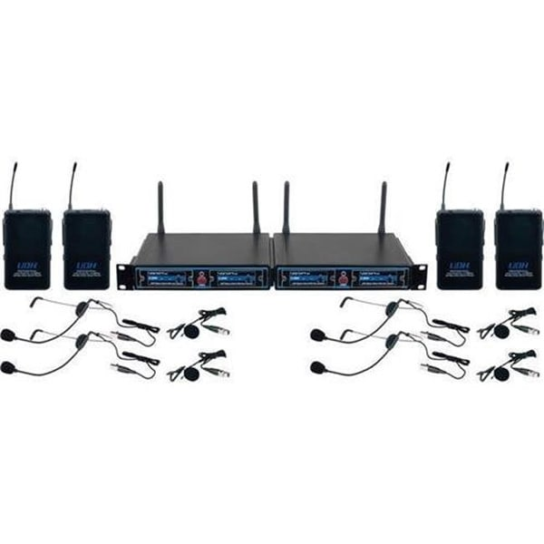 Vocopro 4 Channel Hybrid Wireless Headset Amp Lapel Microphone System