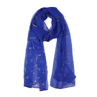 Long Chiffon Beach Scarf Silk Scarves Floral Scarves for Women Royal Blue