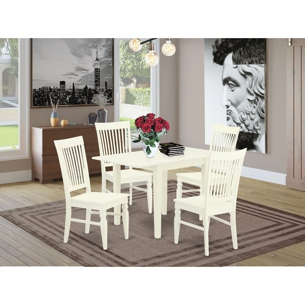 Drop Leaf Kitchen Table And Dining Chairs With Solid Wood Seat And Slat Back Number Of Chairs Option Overstock 32448529