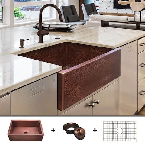 Heavy 12-GAUGE Luxury 30-Inch Copper Farmhouse Sink (48.2 LBS of Pure Copper), Includes Grid and Flange, by Fossil Blu