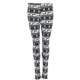 Just One Women's Black and White Snowflake Leggings