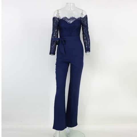 New Fashion Slim Lace Stitching Long Sleeve Belt Jumpsuit
