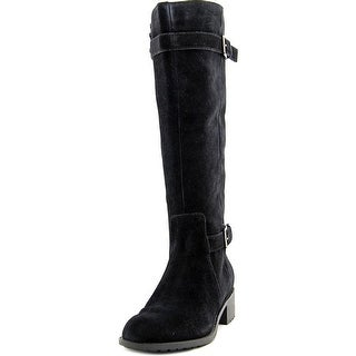 Cole Haan Putnam WP Boot Women Round Toe Suede Black Mid Calf Boot